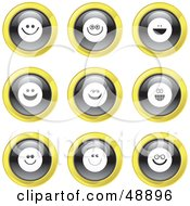 Royalty Free RF Clipart Illustration Of A Digital Collage Of Black White And Yellow Smiley Face Icons