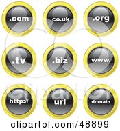 Royalty Free RF Clipart Illustration Of A Digital Collage Of Black White And Yellow Domain Icons by Prawny