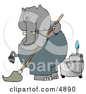Human-Like Elephant Janitor Cleaning And Mopping A Floor