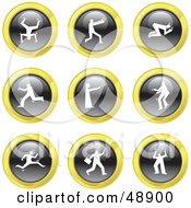 Royalty Free RF Clipart Illustration Of A Digital Collage Of Black White And Yellow People Icons by Prawny