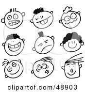 Royalty Free RF Clipart Illustration Of A Digital Collage Of Black And White Expressive Stick People Faces