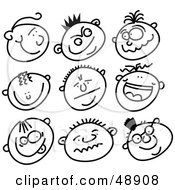 Royalty Free RF Clipart Illustration Of A Digital Collage Of Black And White Male Stick People Faces