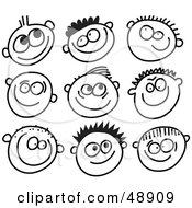 Royalty Free RF Clipart Illustration Of A Digital Collage Of Black And White Grinning Boy Stick People Faces