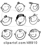 Royalty Free RF Clipart Illustration Of A Digital Collage Of Black And White Happy And Goofy Stick People Faces