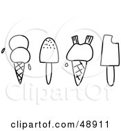 Royalty Free RF Clipart Illustration Of A Digital Collage Of Black And White Ice Cream And Popsicles