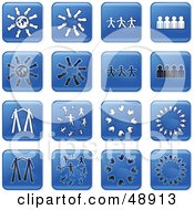 Royalty Free RF Clipart Illustration Of A Digital Collage Of Square Blue Black And White Teamwork Icons