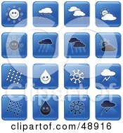 Royalty Free RF Clipart Illustration Of A Digital Collage Of Square Blue Black And White Weather Icons