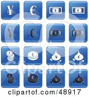Royalty Free RF Clipart Illustration Of A Digital Collage Of Square Blue Black And White Currency Icons