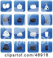 Royalty Free RF Clipart Illustration Of A Digital Collage Of Square Blue Black And White Party Icons by Prawny