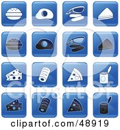 Royalty Free RF Clipart Illustration Of A Digital Collage Of Square Blue Black And White Food Icons by Prawny