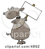 Human Like Dog Holding A Blank Sign Clipart