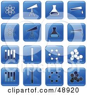 Royalty Free RF Clipart Illustration Of A Digital Collage Of Square Blue Black And White Science Icons by Prawny