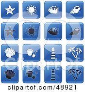 Royalty Free RF Clipart Illustration Of A Digital Collage Of Square Blue Black And White Beach Icons by Prawny