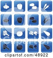 Digital Collage Of Square Blue Black And White Veggie Icons