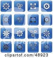 Royalty Free RF Clipart Illustration Of A Digital Collage Of Square Blue Black And White Flower Icons