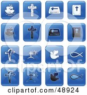 Royalty Free RF Clipart Illustration Of A Digital Collage Of Square Blue Black And White Christian Icons
