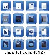 Royalty Free RF Clipart Illustration Of A Digital Collage Of Square Blue Black And White Document Icons by Prawny