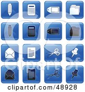 Royalty Free RF Clipart Illustration Of A Digital Collage Of Square Blue Black And White Office Icons by Prawny