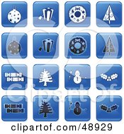 Digital Collage Of Square Blue Black And White Christmas Icons