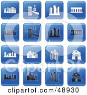 Royalty Free RF Clipart Illustration Of A Digital Collage Of Square Blue Black And White Architecture Icons by Prawny