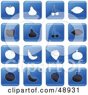 Royalty Free RF Clipart Illustration Of A Digital Collage Of Square Blue Black And White Fruit Icons by Prawny