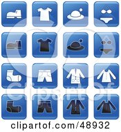 Royalty Free RF Clipart Illustration Of A Digital Collage Of Square Blue Black And White Apparel Icons by Prawny