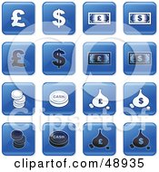 Digital Collage Of Square Blue Black And White Money Icons