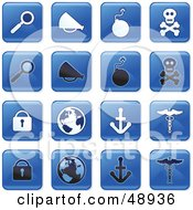 Digital Collage Of Square Blue Black And White Icons