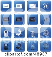 Royalty Free RF Clipart Illustration Of A Digital Collage Of Square Blue Black And White Communications Icons by Prawny
