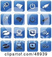 Royalty Free RF Clipart Illustration Of A Digital Collage Of Square Blue Black And White Computer Icons by Prawny