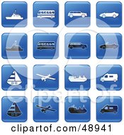 Royalty Free RF Clipart Illustration Of A Digital Collage Of Square Blue Black And White Transport Icons