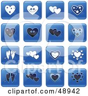 Royalty Free RF Clipart Illustration Of A Digital Collage Of Square Blue Black And White Heart Icons