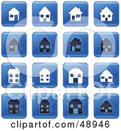 Royalty Free RF Clipart Illustration Of A Digital Collage Of Square Blue Black And White Home Icons