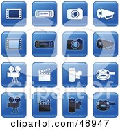 Royalty Free RF Clipart Illustration Of A Digital Collage Of Square Blue Black And White Film Industry Icons by Prawny
