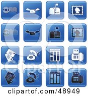 Royalty Free RF Clipart Illustration Of A Digital Collage Of Square Blue Black And White Communication Icons
