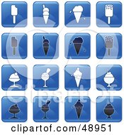 Digital Collage Of Square Blue Black And White Dessert Icons