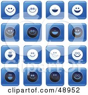 Royalty Free RF Clipart Illustration Of A Digital Collage Of Square Blue Black And White Happy Face Icons