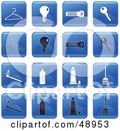 Royalty Free RF Clipart Illustration Of A Digital Collage Of Square Blue Black And White Household Icons by Prawny