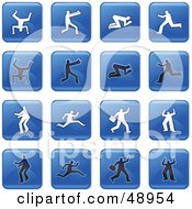 Royalty Free RF Clipart Illustration Of A Digital Collage Of Square Blue Black And White People Icons by Prawny