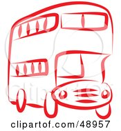 Royalty Free RF Clipart Illustration Of A Red Double Decker