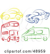 Royalty Free RF Clipart Illustration Of A Digital Collage Of A Double Decker Van And Cars by Prawny
