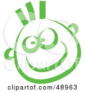 Royalty Free RF Clipart Illustration Of A Green Happy Childs Face