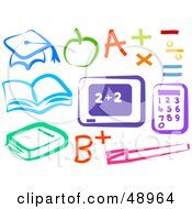 Royalty Free RF Clipart Illustration Of A Digital Collage Of Colorful Education Items by Prawny