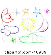 Royalty Free RF Clipart Illustration Of A Digital Collage Of Colorful Moons Suns Stars And Clouds by Prawny