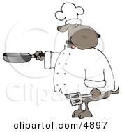 Human-Like Chef Dog Cooking With A Skillet And Spatula