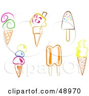 Royalty Free RF Clipart Illustration Of A Digital Collage Of Colorful Ice Cream Desserts by Prawny