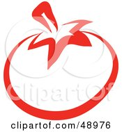 Royalty Free RF Clipart Illustration Of A Red Outlined Tomato
