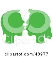 Royalty Free RF Clipart Illustration Of A Green Kissing Silhouetted Couple by Prawny