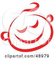 Royalty Free RF Clipart Illustration Of A Red Happy Childs Face