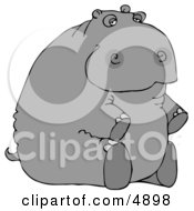 Hippopotamus Sitting On His Butt Clipart